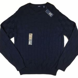 IZOD Sweater XL Cotton Texture Thunder Navy